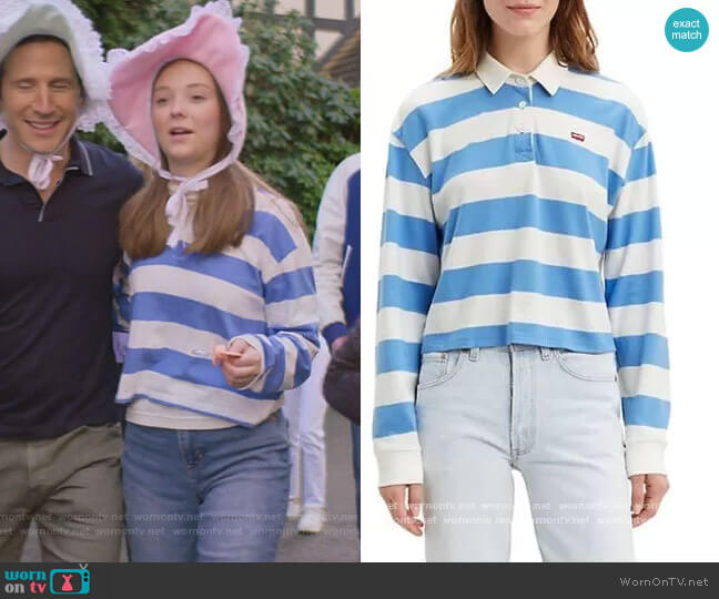 Stripe Rugby Jersey by Levis worn by Kristy Thomas (Sophie Grace) on The Baby-Sitters Club