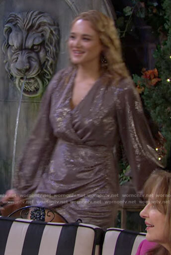 Summer's metallic wrap dress on The Young and the Restless