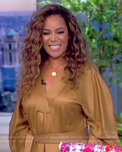 Sunny's gold tie waist dress on The View