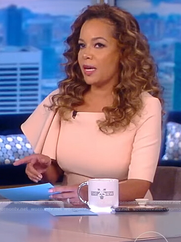 Sunny's pink ruffle sleeve blouse on The View