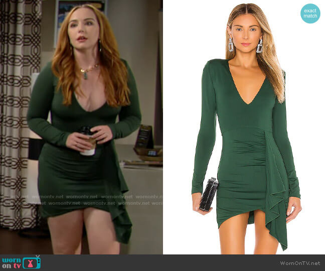 Superdown Martyna Deep V Dress worn by Mariah Copeland (Camryn Grimes) on The Young & the Restless