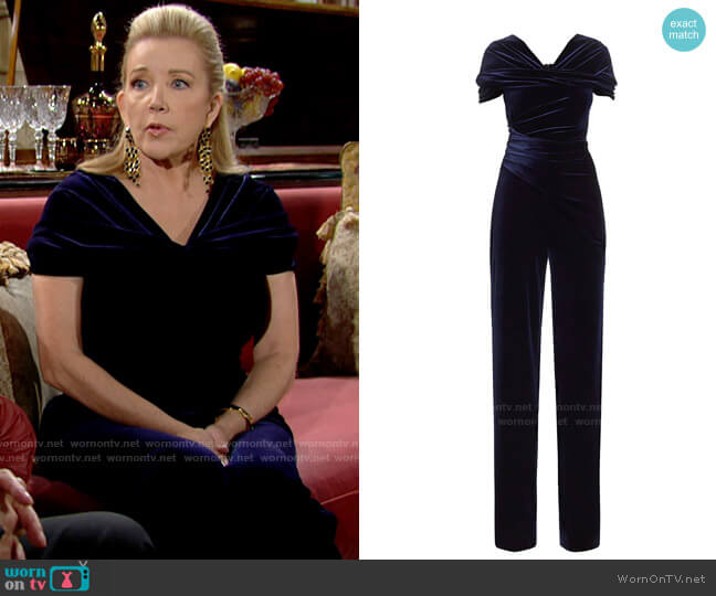 Talbot Runhof Stretch Velvet Jumpsuit worn by Nikki Reed Newman (Melody Thomas-Scott) on The Young & the Restless