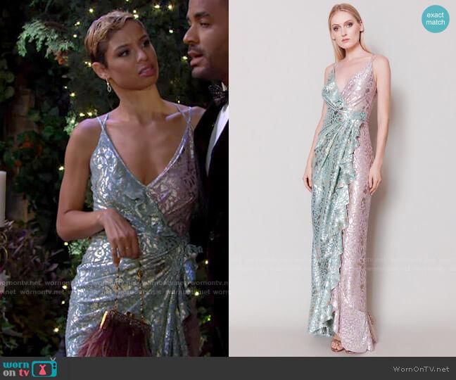 Talbot Runhof Boon Evening Dress worn by Elena Dawson (Brytni Sarpy) on The Young & the Restless