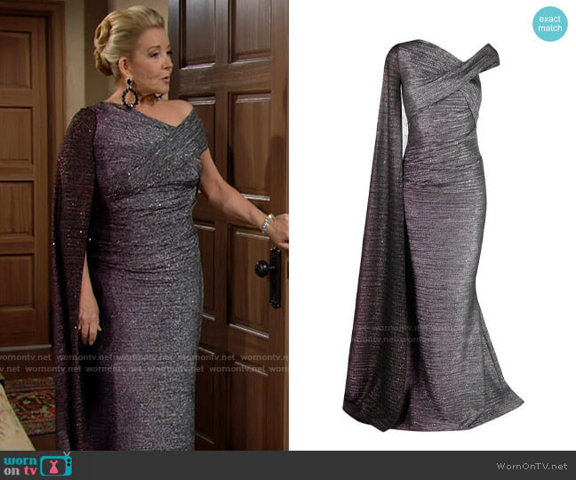 Talbot Runhof One Shoulder Metallic Cape Dress worn by Nikki Reed Newman (Melody Thomas-Scott) on The Young & the Restless