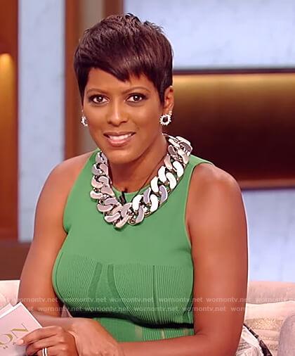 Tamron's green knit tank on The Tamron Hall Show