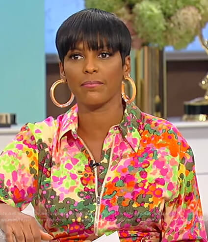 Tamron's floral print jumpsuit on Tamron Hall Show