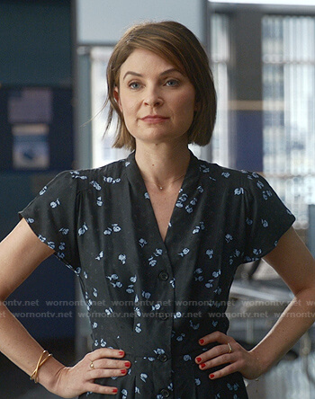 Marissa's pink asymmetric neck short sleeve top on Bull