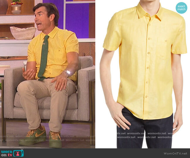 Civiche Linen & Cotton Button-Up Shirt by Ted Baker worn by Jerry O'Connell on The Talk