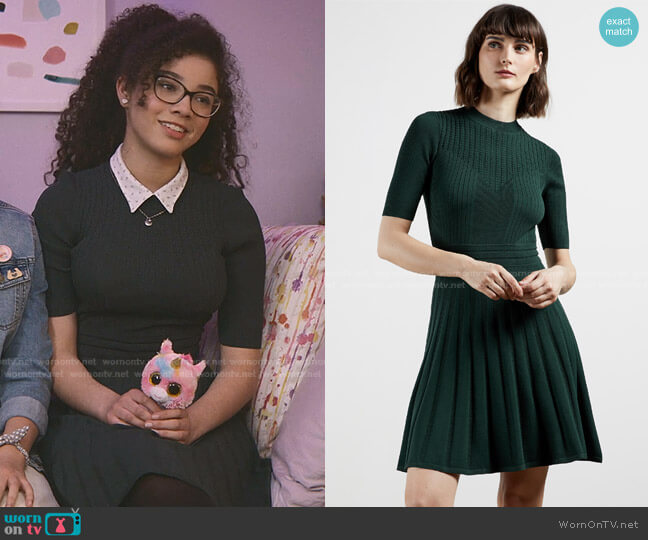Olivinn Dress by Ted Baker worn by Mary-Anne Spier (Malia Baker) on The Baby-Sitters Club