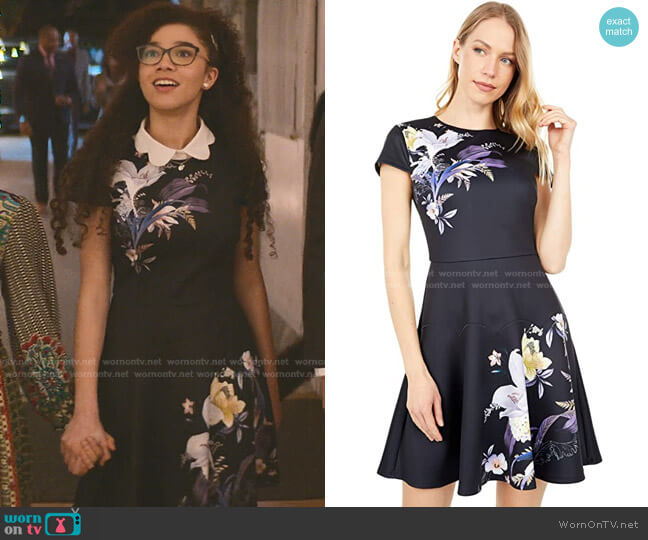 Decadence Skater Dress by Ted Baker worn by Mary-Anne Spier (Malia Baker) on The Baby-Sitters Club