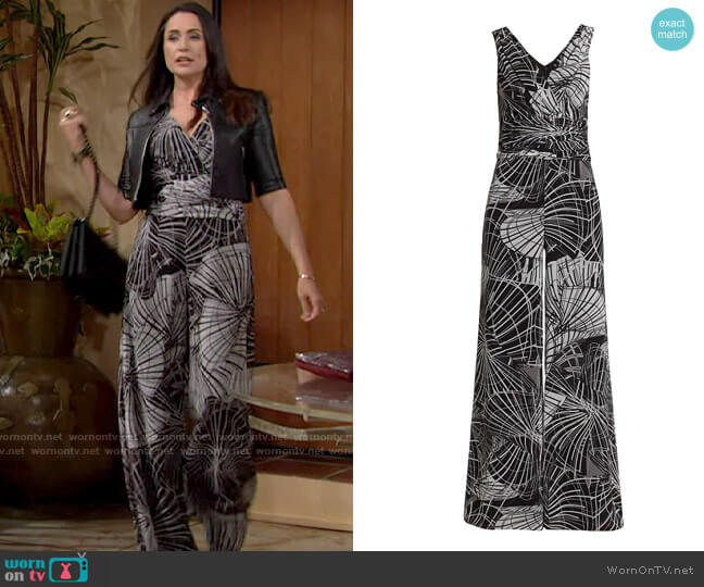 Teri Jon by Rickie Freeman Geometric Print Sleeveless Jumpsuit worn by Quinn Fuller (Rena Sofer) on The Bold & the Beautiful
