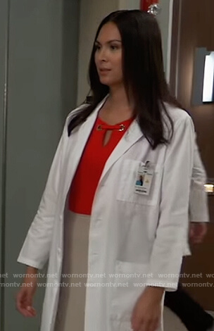 Terry Randolph's red grommet embellished top on General Hospital