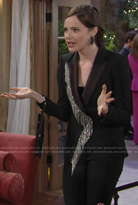 Tessa's crystal fringed blazer on The Young and the Restless