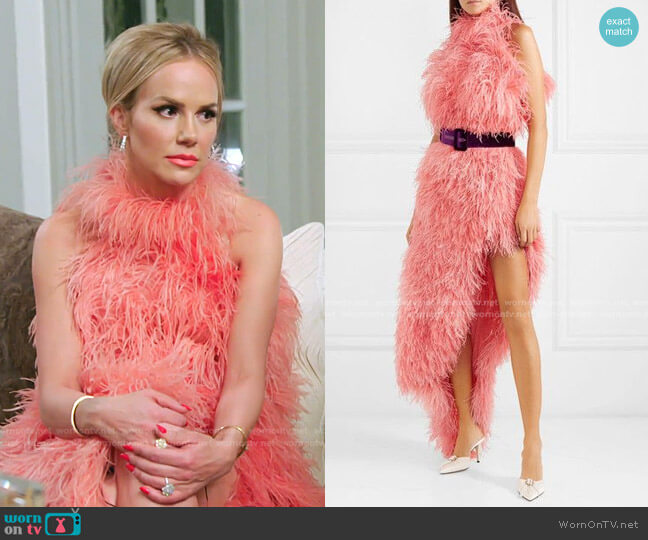 Asymmetric Feathered Tulle Dress by The Attico worn by Angie Harrington on RHOSLC