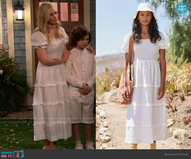 The Great The Scallop Savanna Dress worn by Gemma (Beth Behrs) on The Neighborhood