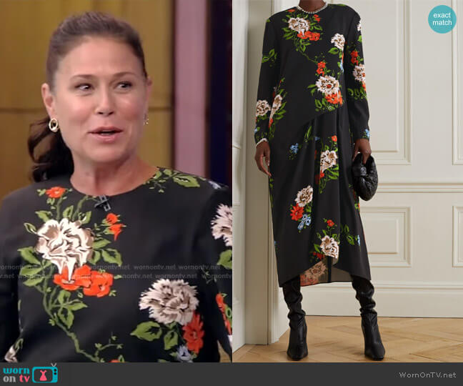 Quinn Gathered Floral-Print Crepe Midi Dress by Tibi worn by Maura Tierney on Live with Kelly and Ryan