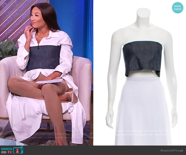 Denim Corset Crop top by Tibi worn by Jeannie Mai  on The Real
