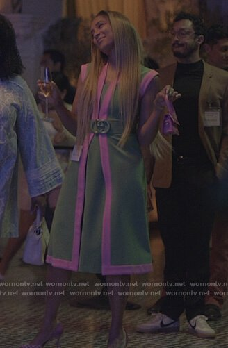 Tiffany's green belted dress on Insecure
