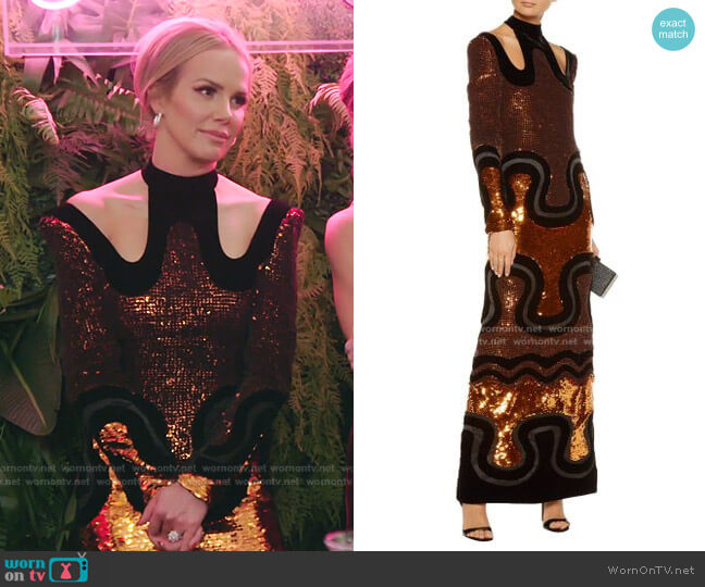 Cutout Sequined Velvet Gown by Tom Ford worn by Angie Harrington on RHOSLC