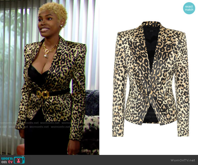 Tom Ford Leopard-print cotton-blend blazer worn by Paris Buckingham (Diamond White) on The Bold & the Beautiful