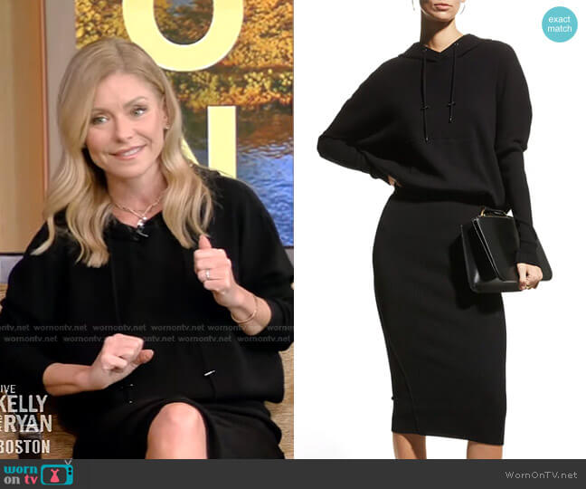 Hooded Ribbed Cashmere-Blend Dress by Tom Ford worn by Kelly Ripa  on Live with Kelly & Ryan