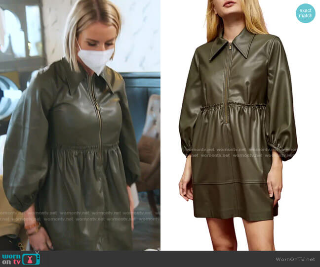 Oversize Zip Through Faux Leather Dress by Topshop worn by Whitney Rose  on The Real Housewives of Salt Lake City