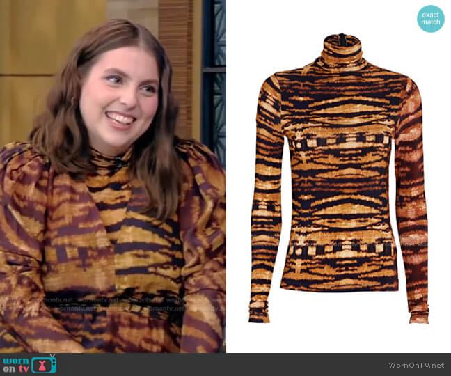 Aurelia Tigers Eye Mesh Turtleneck Top by Ulla Johnson worn by Beanie Feldstein on Live with Kelly and Ryan