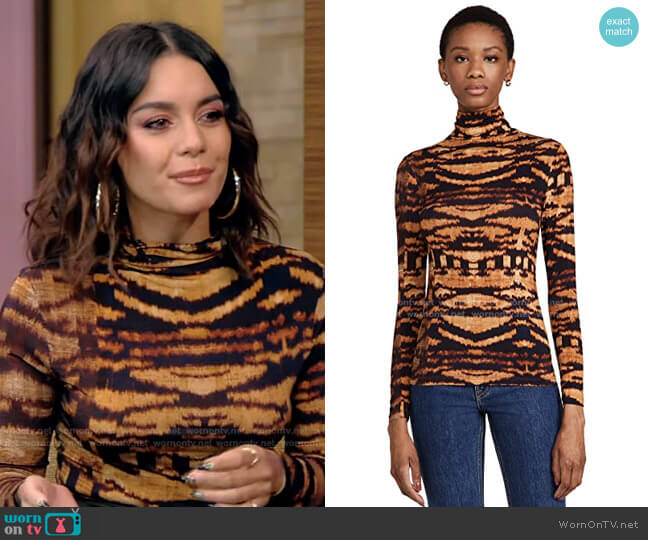 Aurelia Tiger-Print Jersey Top by Ulla Johnson worn by Vanessa Hudgens on Live with Kelly and Ryan