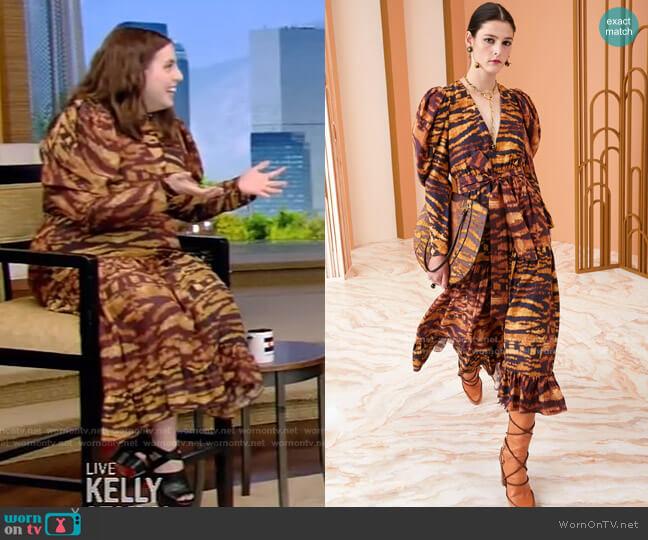 Leyla Dress by Ulla Johnson worn by Beanie Feldstein on Live with Kelly and Ryan