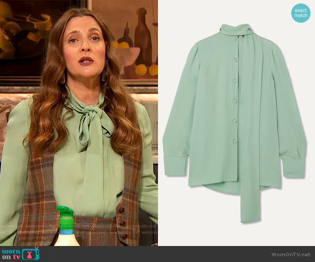 Pussy-bow tie neck blouse by Valentino worn by Drew Barrymore  on The Drew Barrymore Show