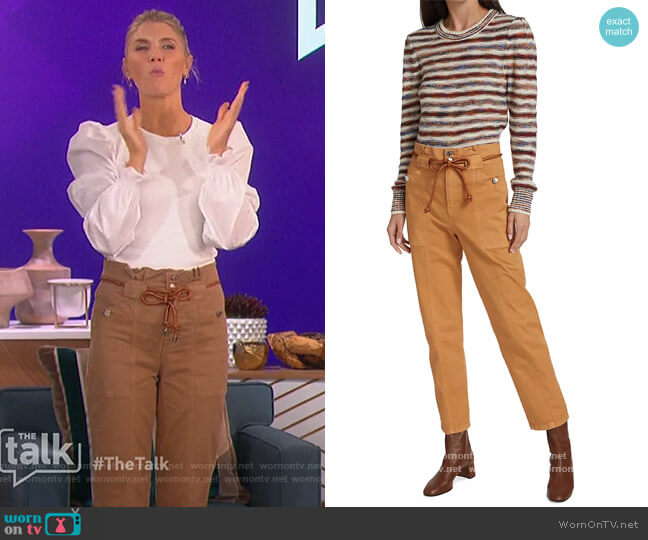 Karter Paperbag Waist Cotton Blend Pants by Veronica Beard worn by Amanda Kloots  on The Talk