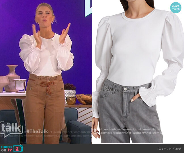 Fawn Puff-Sleeve Top by Veronica Beard worn by Amanda Kloots  on The Talk