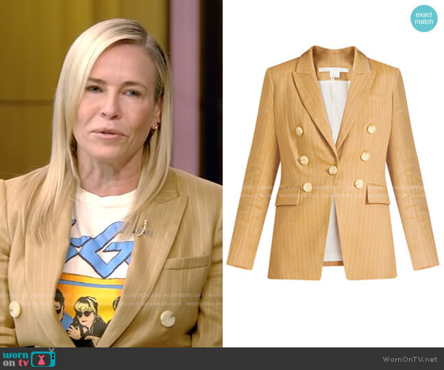 Gaya Pinstripe Linen Dickey Jacket by Veronica Beard  worn by Chelsea Handler on Live with Kelly and Ryan