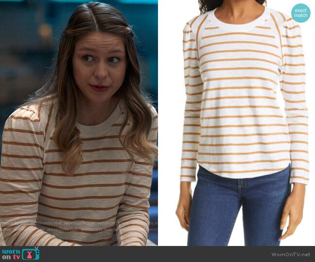 Veronica Beard Mason Stripe Tee worn by Kara Danvers (Melissa Benoist) on Supergirl