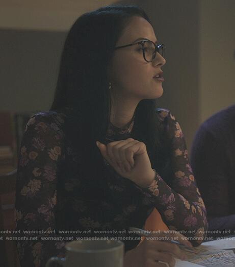 Veronica's black floral turtleneck top on Riverdale