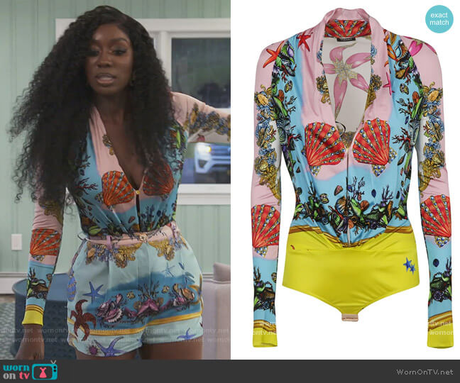 Tresor De la Mer Print Bodysuit by Versace worn by Wendy Osefo  on The Real Housewives of Potomac