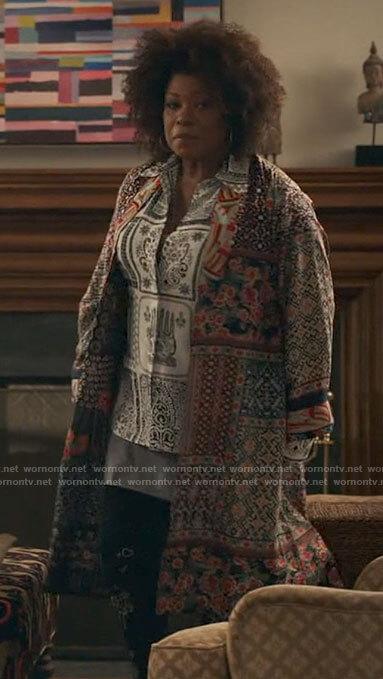 Vi's patchwork print jacket on The Equalizer