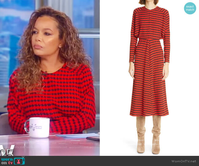Houndstooth Crepe Long Sleeve Midi Dress by Victoria Beckham worn by Sunny Hostin  on The View