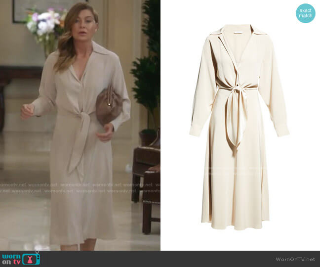 Long-Sleeve Collared Tie-Front Dress by Vince worn by Meredith Grey (Ellen Pompeo) on Greys Anatomy