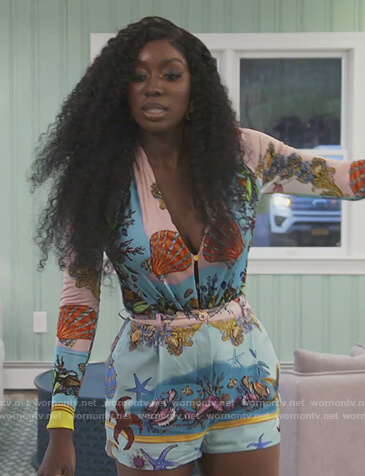 Wendy's beach print bodysuit and shorts on The Real Housewives of Potomac