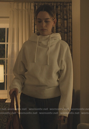 Love's white funnel neck hoodie on You