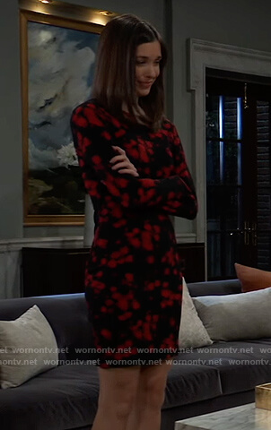 Willow's black and red floral print dress on General Hospital