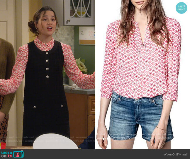 Tade Eyes Print Blouse by Zadig & Voltaire worn by Lex (Jules LeBlanc) on Side Hustle