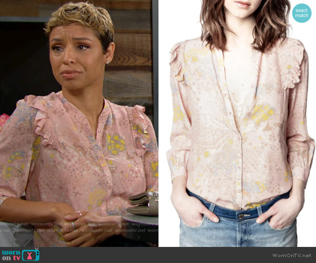 Zadig & Voltaire Tygg Blouse in Crepuscule worn by Elena Dawson (Brytni Sarpy) on The Young & the Restless