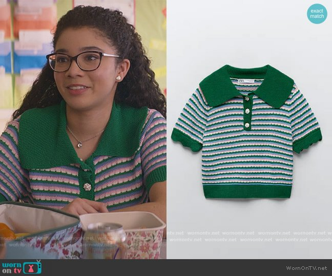 Knit Polo Shirt with Rhinestone Buttons by Zara worn by Mary-Anne Spier (Malia Baker) on The Baby-Sitters Club