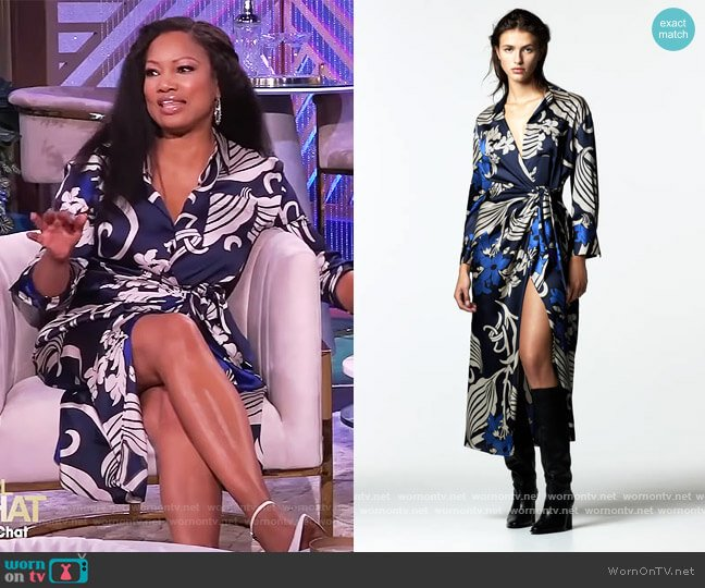 Printed Shirt Dress by Zara worn by Garcelle Beauvais  on The Real
