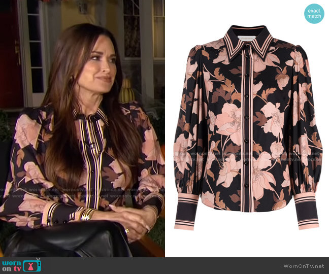Floral-Print Silk Blouse by Zimmermann worn by Kyle Richards on E! News Daily Pop