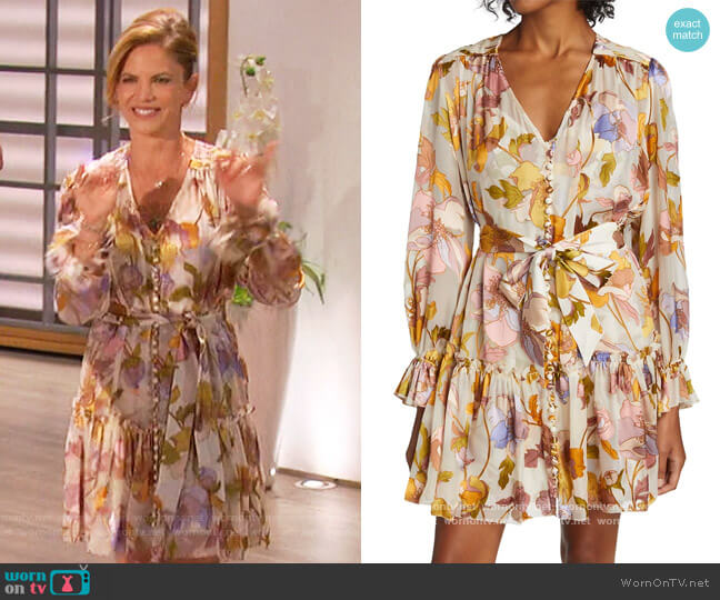 Floral Tiered Minidress by Zimmermann worn by Natalie Morales on The Talk worn by Natalie Morales  on The Talk