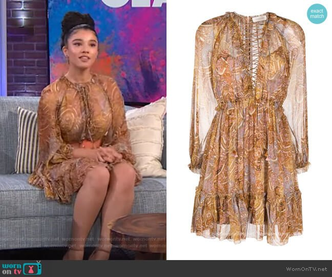 Concert lace-up paisley-print dress by Zimmermann worn by Malia Baker on The Kelly Clarkson Show